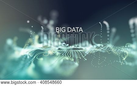 Abstract Tech Background. Sound Wave. Wave Flow. Bigdata Vector Background. Sorting Data Network