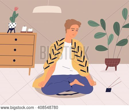Calm Man Meditating And Practicing Yoga Exercises At Home. Relaxed Guy Performing Mindfulness Medita