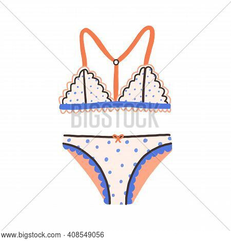 Female Underwear With Polka Dot Pattern. Elegant Cute Lingerie With Wireless Bra And Panties. Brassi