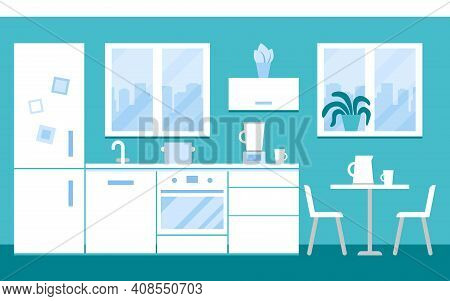 Interior Of White Kitchen At Home With Appliances And Furniture. Kitchen Wall With Window, Stove, Ta
