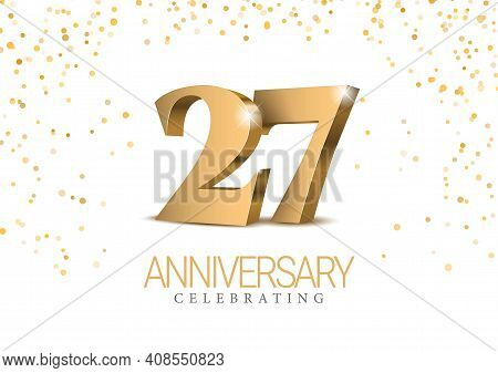 Anniversary 26. Gold 3d Numbers. Poster Template For Celebrating 26th Anniversary Event Party. Vecto