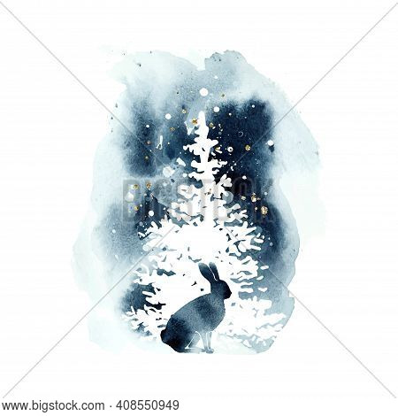 Watercolor Vector Silhouette Hare And A White Fir. Christmas Watercolor Print With Isolated Animal I