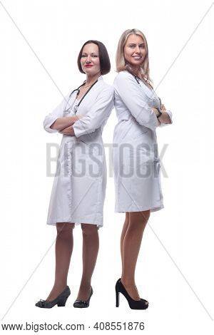 two female doctor and Intern standing together .