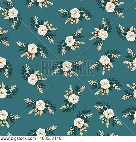 White Flowers Bridal Roses Seamless Vector Pattern. Repeating Retro Romantic Floral Background Teal