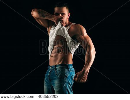 Six Packs. Male Striptease. Mans Bare Torso. Muscular Man Showing Abs. Handsome Guy Posing. Sporty H