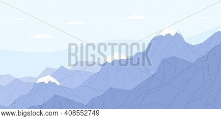 Ridge Of Blue Mountains With Ice Peaks. Calm And Peaceful Scene Of Alps. Serene Landscape With Mount