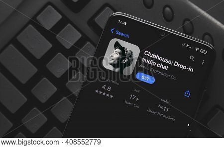 Ufa, Russia - February 16, 2021: Top View Clubhouse App On The Smartphone, Clubhouse Drop In Audio C