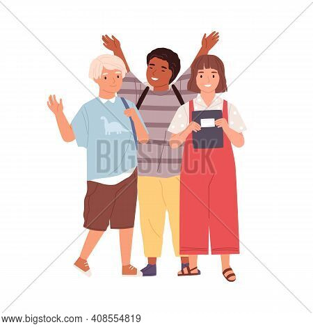 Modern Schoolchildren Waving Hands And Saying Bye. Diverse Joyful Kids Standing Together. Boys And G