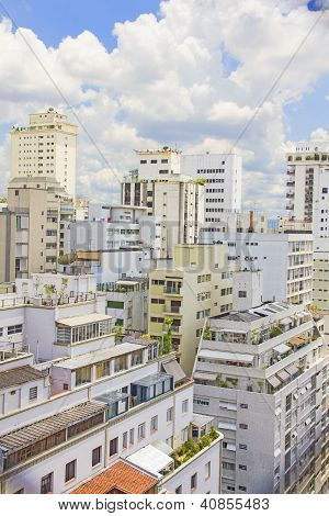 Aerial view of buildings in Si??o Paulo, Brazil poster