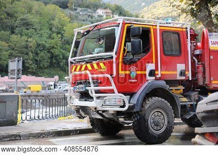 Breil-sur-roya, France - October 8, 2020: French Renault Gimaex Red Fire Truck Intervention In Breil