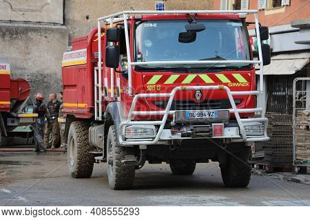 Breil-sur-roya, France - October 8, 2020: French Renault Gimaex Red Fire Truck (sdis 13) In The City