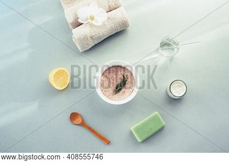 Himalayan Salt In A Bowl For Skin Care Treatment. Lemon, Organic Soap And Towel. Natural Cosmetics A