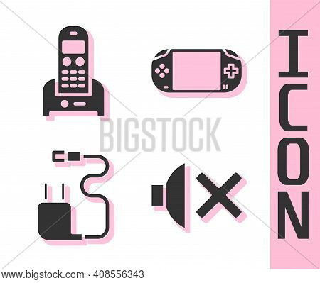 Set Speaker Mute, Telephone, Charger And Portable Video Game Console Icon. Vector