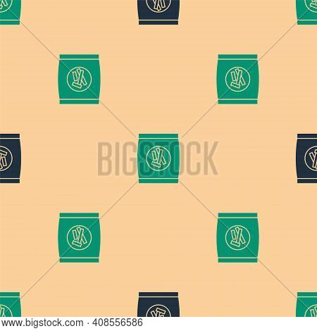 Green And Black Hard Bread Chucks Crackers Icon Isolated Seamless Pattern On Beige Background. Vecto