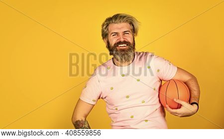 Basketball Player Or Coach. Leisure Time And Activity. Basketball Player Concentrating On Game. Man