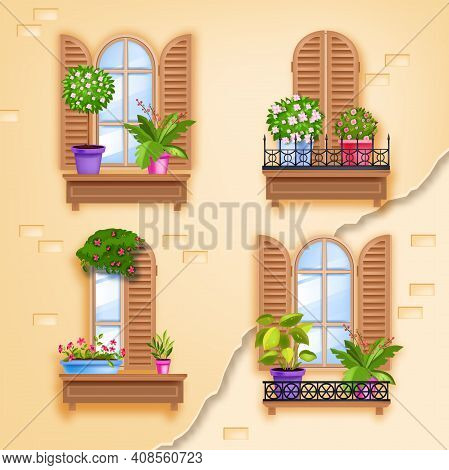 Old Window Wooden Vector Frames Illustration, House Brick Wall, Shutters, Casements, Glass, Forged B