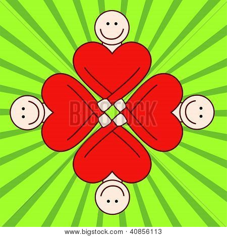 People togetherness - red hearts.