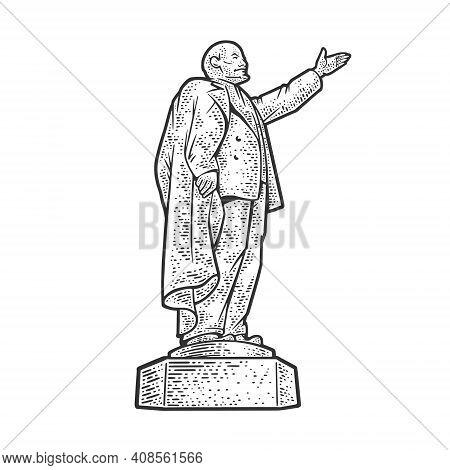 Lenin Monument Russian Revolutionary Communist Leader Sketch Engraving Vector Illustration. T-shirt