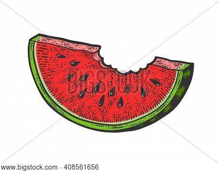 Bitten Slice Of Watermelon Color Sketch Engraving Vector Illustration. T-shirt Apparel Print Design.