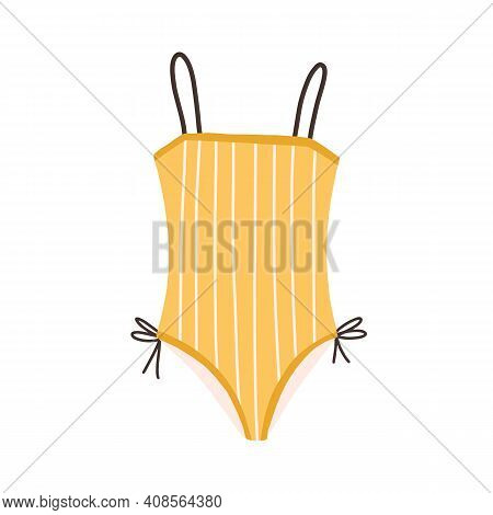 Female One-piece Swimsuit. Stylish Yellow Strapped Swimwear. Striped Swim Clothes. Flat Colorful Vec
