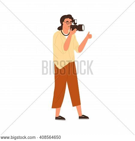 Professional Female Photographer Holding Digital Photo Camera, Having Thumb Up And Taking Pictures.