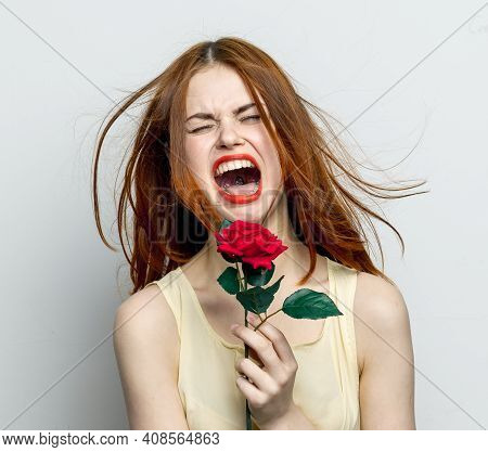 Emotional Woman With Rose Flower Displeasure Cry Isolated Background