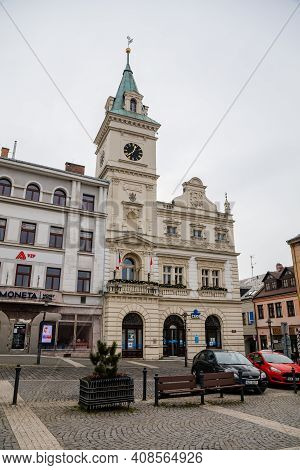 Neo-renaissance Town Hall With Clock Tower, Square Of Bohemian Paradise, Baroque And Renaissance His