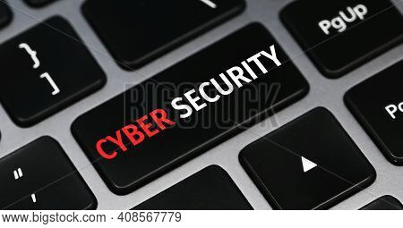 Cyber Security Text On Keyboard. Technology Concept.