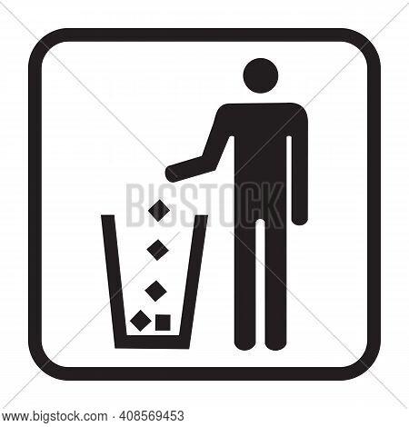 Garbage Symbol. Trash Icon. Disposable Icon. Tidy Man Symbol