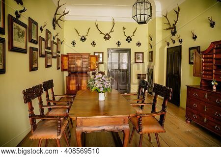 Castle Interior, Baroque And Renaissance Furniture, Bureau With Swing Doors, Wooden Carved Table And
