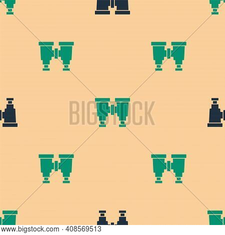 Green And Black Binoculars Icon Isolated Seamless Pattern On Beige Background. Find Software Sign. S