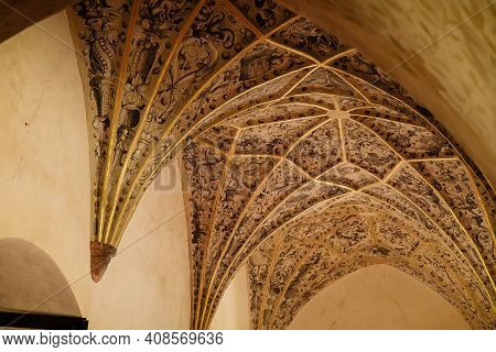 Castle Interior, Baroque And Renaissance Furniture, Rib Vault Or Gothic Gilded Ribbed Vault, Wooden