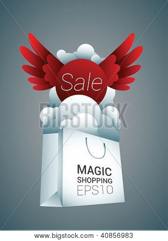 White shopping bag with red sale sign