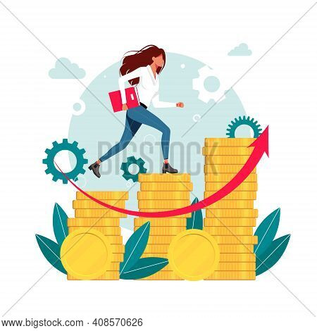 Workers, Managers, Woman, Businessmen Running Up The Career Stairs Of Money. Business Goal Achieveme