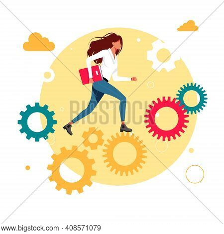 Office Workers, Managers, Woman, Girl Successful Businessmen Running Up The Career Gears Mechanism.
