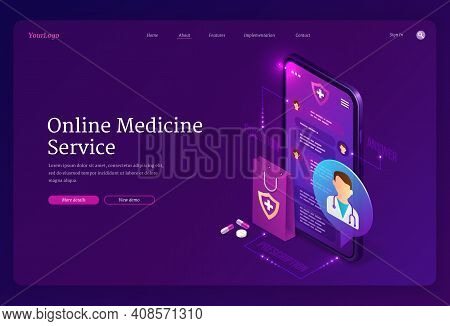 Online Medicine Service Banner. Virtual Medical Consultation With Doctor On Mobile Phone. Vector Lan