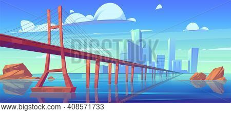 Modern City Skyline View With Low-water Bridge, Metropolis Cityscape With Skyscraper Buildings Archi