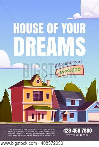 House Of Your Dream Promo Poster For Selling Suburban Real Estate. Street With Residential Cottages,