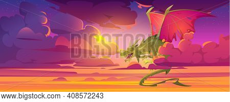 Dragon In Cloudy Sky, Fantastic Character, Magic Creature Flying In Dusk Heaven With Beautiful Purpl