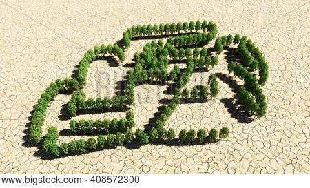 Concept or conceptual group of green forest tree on dry ground background, sign of a racingcar. A 3d illustration metaphor for motorsport, competition, race, speed and power