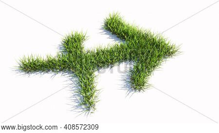 Concept conceptual green summer lawn grass symbol shape isolated white background, sign of sagittarius zodiac sign. 3d illustration symbol for  esoteric, the mystic, the power of prediction of astrolo