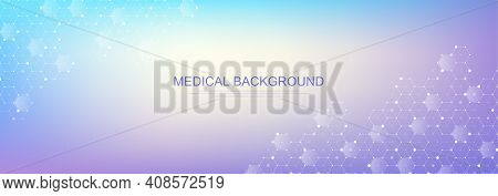 Health Care And Medical Pattern Innovation Concept Background Design. Abstract Geometric Hexagons Sh