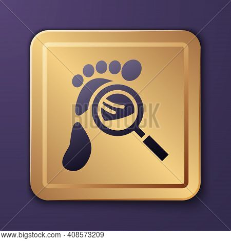 Purple Magnifying Glass With Footsteps Icon Isolated On Purple Background. Detective Is Investigatin