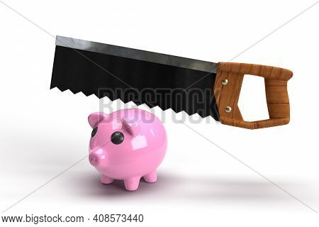 Pink Pig Bank Is Ready For Sawing ,3d Render