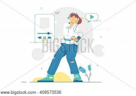 Girl Listening To Music In Headset Vector Illustration. Teenager Enjoy Music On Cool Smartphone Devi