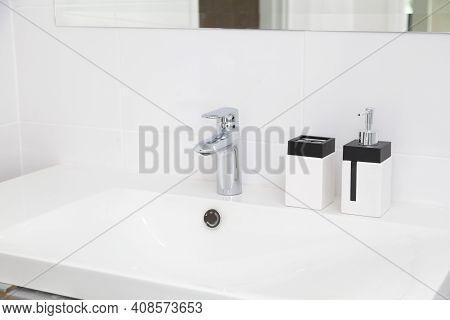 Modern White Bathroom Sink Basin. Interior Of Bathroom With Sink Basin Faucet. Modern Design Of Bath