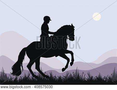 A Rider Gallops In A Field, A Dark Silhouette Against The Sky