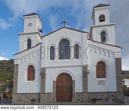 Tejeda, Gran Canaria, Canary Islands, Spain December 15, 2020: View Of Church Nuestra Senora Del Soc