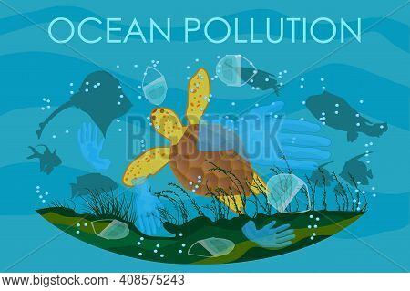 Turtle Swimming Among Garbage. Stop Sea Plastic Pollution. Ocean And Nature Protection From Pollutio