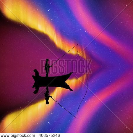 Man With Dog In Boat At Night. Fisherman Silhouette. Aurora Borealis